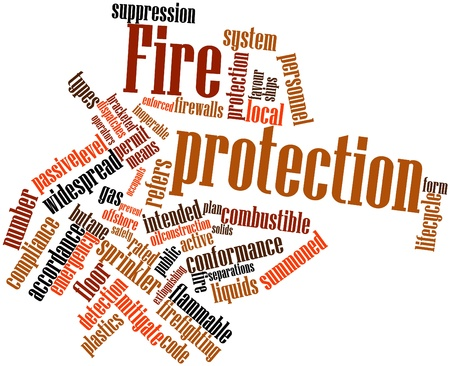 public safety: Abstract word cloud for Fire protection with related tags and terms