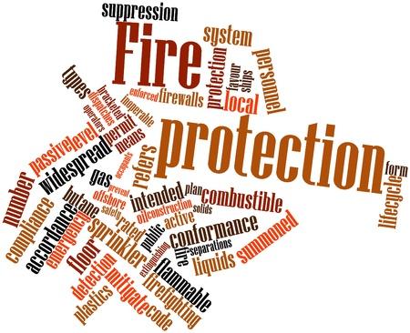 Abstraktes Wort-Wolke für Brandschutz mit verwandte Tags und Begriffe