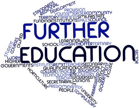 sixth form: Nube palabra abstracta para la educaci�n superior con las etiquetas y t�rminos relacionados