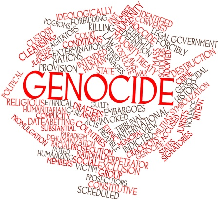 Abstract word cloud for Genocide with related tags and terms Stock Photo