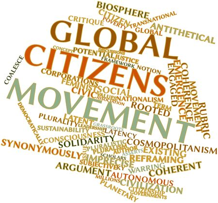 critique: Abstract word cloud for Global citizens movement with related tags and terms Stock Photo