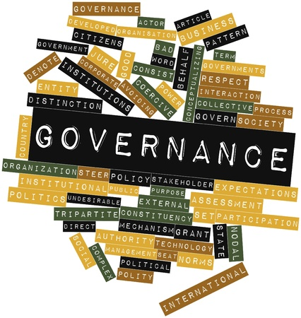democratic: Abstract word cloud for Governance with related tags and terms