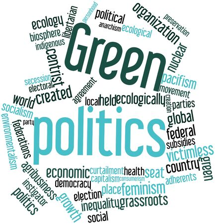 coalition: Abstract word cloud for Green politics with related tags and terms Stock Photo