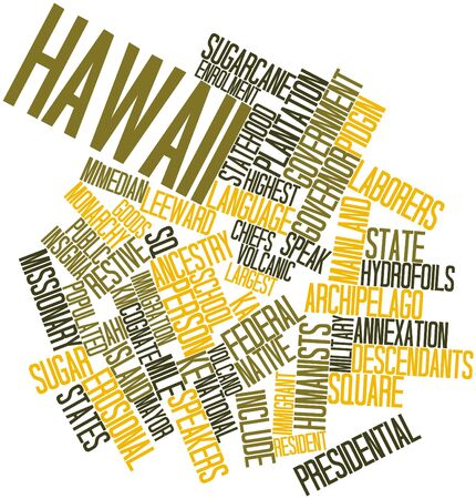 statehood: Abstract word cloud for Hawaii with related tags and terms Stock Photo