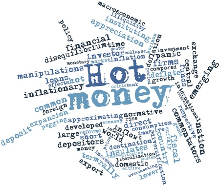 macroeconomic: Abstract word cloud for Hot money with related tags and terms