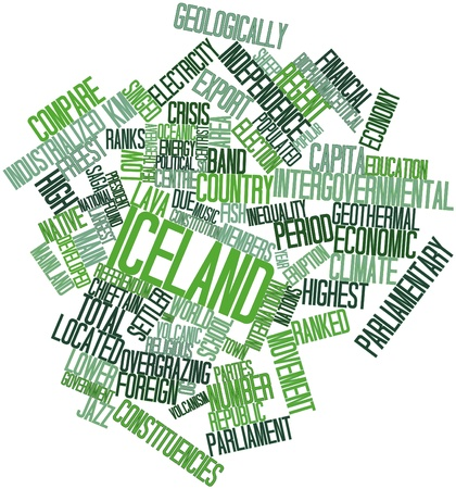 populated: Abstract word cloud for Iceland with related tags and terms Stock Photo