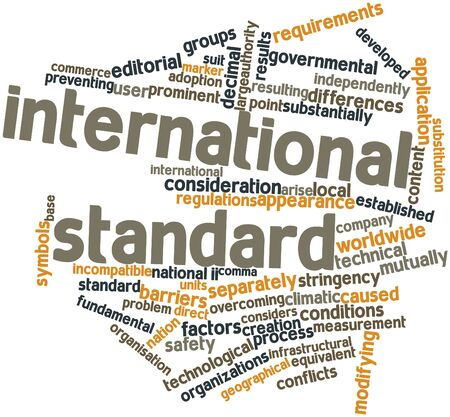 incompatible: Abstract word cloud for International standard with related tags and terms