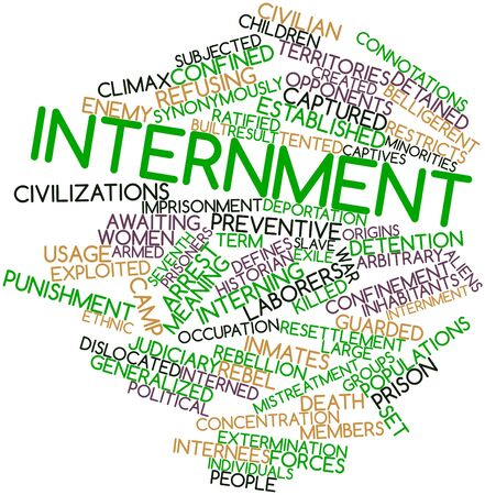 exile: Abstract word cloud for Internment with related tags and terms Stock Photo