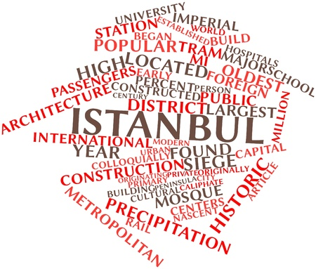 millennium: Abstract word cloud for Istanbul with related tags and terms Stock Photo