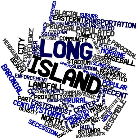 main group: Abstract word cloud for Long Island with related tags and terms Stock Photo