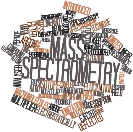 characterization: Abstract word cloud for Mass spectrometry with related tags and terms Stock Photo