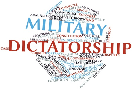 ineffective: Abstract word cloud for Military dictatorship with related tags and terms Stock Photo