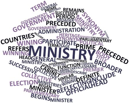 preceded: Abstract word cloud for Ministry with related tags and terms Stock Photo