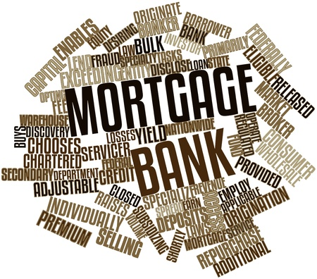 originate: Abstract word cloud for Mortgage bank with related tags and terms
