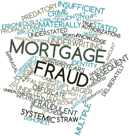 perpetrator: Abstract word cloud for Mortgage fraud with related tags and terms Stock Photo