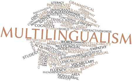 grammatical: Abstract word cloud for Multilingualism with related tags and terms Stock Photo