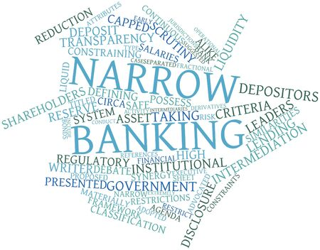 advocated: Abstract word cloud for Narrow banking with related tags and terms Stock Photo