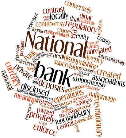 bank owned: Abstract word cloud for National bank with related tags and terms