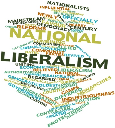 protectionism: Abstract word cloud for National liberalism with related tags and terms