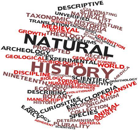 observational: Nube palabra abstracta para la historia natural con etiquetas y t�rminos relacionados Foto de archivo