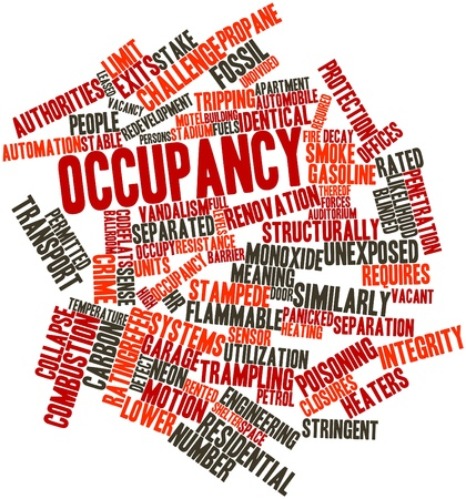 occupancy: Abstract word cloud for Occupancy with related tags and terms Stock Photo