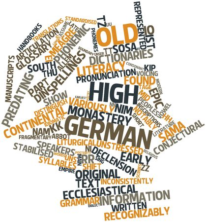 kip: Abstract word cloud for Old High German with related tags and terms Stock Photo
