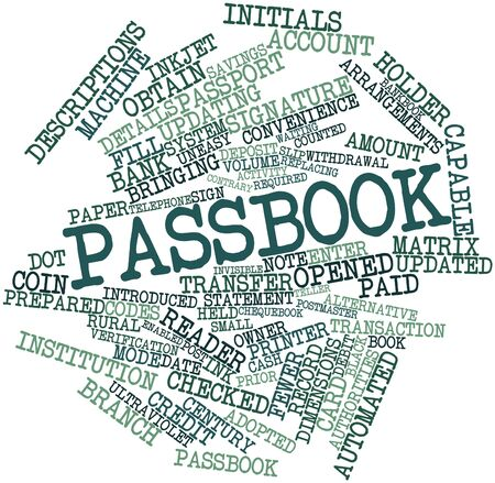 obtain: Abstract word cloud for Passbook with related tags and terms Stock Photo