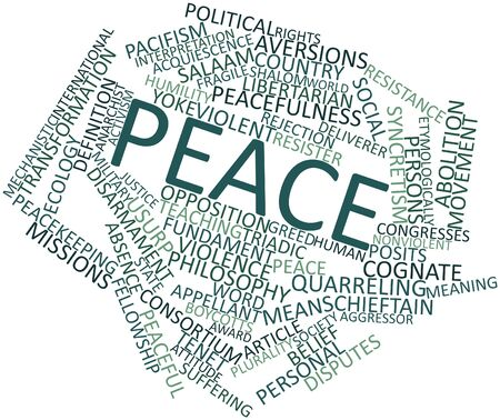 nonviolent: Abstract word cloud for Peace with related tags and terms Stock Photo