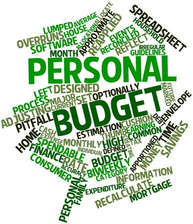 connotation: Abstract word cloud for Personal budget with related tags and terms Stock Photo