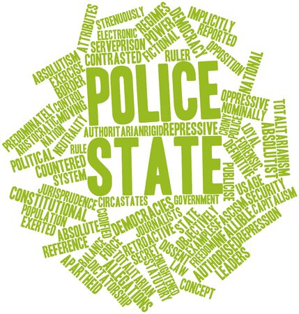 democracies: Abstract word cloud for Police state with related tags and terms