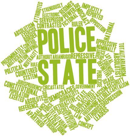 Abstracte woord wolk voor de Politie staat met bijbehorende labels en termen