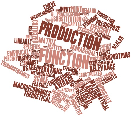 linearly: Abstract word cloud for Production function with related tags and terms Stock Photo