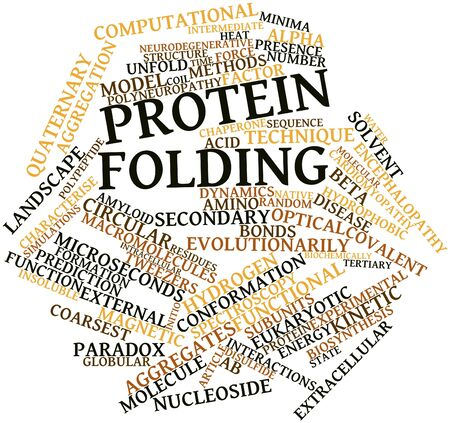 cloud formation: Abstract word cloud for Protein folding with related tags and terms