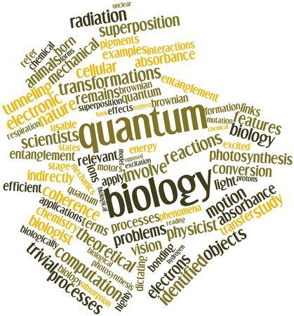 dictating: Nube palabra abstracta para la biolog�a cu�ntica con las etiquetas y t�rminos relacionados Foto de archivo