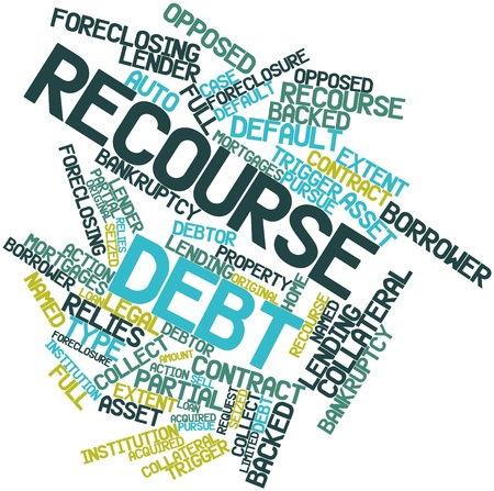 seized: Abstract word cloud for Recourse debt with related tags and terms Stock Photo