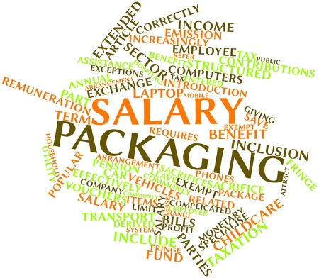 exceptions: Abstract word cloud for Salary packaging with related tags and terms Stock Photo