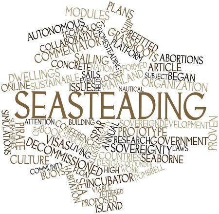 socializando: Nube palabra abstracta para Seasteading con etiquetas y términos relacionados