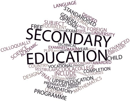 upper school: Abstract word cloud for Secondary education with related tags and terms