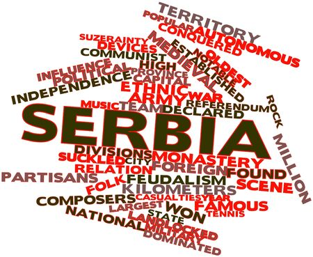 transitional: Abstract word cloud for Serbia with related tags and terms