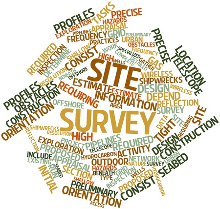 proposed: Abstract word cloud for Site survey with related tags and terms Stock Photo