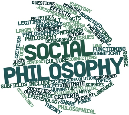 Abstract word cloud for Social philosophy with related tags and terms photo