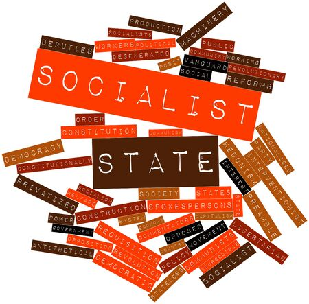 protectionism: Abstract word cloud for Socialist state with related tags and terms Stock Photo