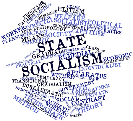 decentralized: Abstract word cloud for State socialism with related tags and terms Stock Photo