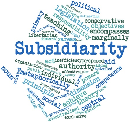 tenet: Abstract word cloud for Subsidiarity with related tags and terms