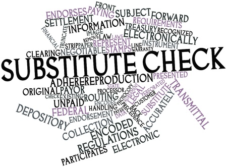 precedence: Abstract word cloud for Substitute check with related tags and terms Stock Photo