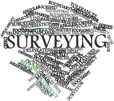plat: Abstract word cloud for Surveying with related tags and terms Stock Photo