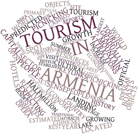 predicted: Abstract word cloud for Tourism in Armenia with related tags and terms Stock Photo
