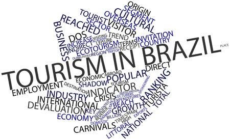overseas: Abstract word cloud for Tourism in Brazil with related tags and terms Stock Photo