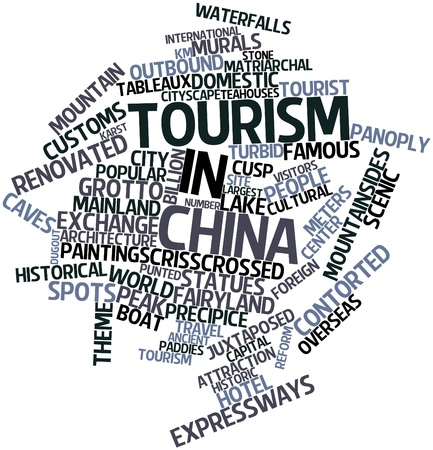 dugout: Abstract word cloud for Tourism in China with related tags and terms Stock Photo