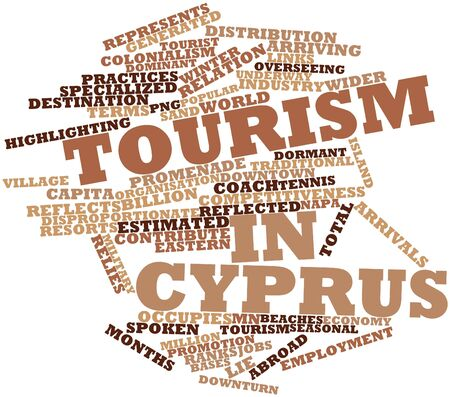 Abstract word cloud for Tourism in Cyprus with related tags and terms Stock Photo - 17021332
